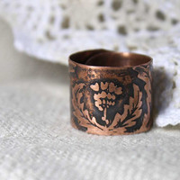 Thistle ring with one flower - Copper ring - Etching ring - Scotland ring - Ring cuff - Free-size ring - Forest Elven Ring - Carduus ring
