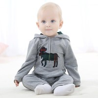 Newborn Hooded Baby Rompers Long Sleeve Cotton Baby one-pieces Winter Baby Clothes Grey Pink Infant Overalls Snowsuit for 0-24M
