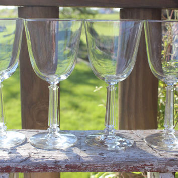 vintage glassware, 4 vintage Libbey home barware water goblets, retro crystal wine glasses, mid century bar cart glasses, wedding toasting