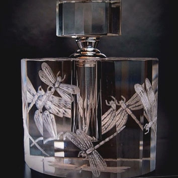 Crystal Perfume Bottle engraved with Dragon Fly
