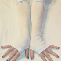 Angel - Arm Warmers made of White Cotton Jersey knit fabric Super Soft Quality - Handmade