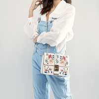 Miss Selfridge Embroidered Chain Strap Bag at asos.com