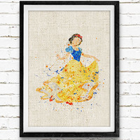 Snow White Watercolor Print, Disney Baby Girl Nursery Decor, Wall Art, Home Decor, Gift Idea, Not Framed, Buy 2 Get 1 Free!