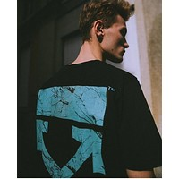OFF-WHITE 2019 new crack arrow print men's and women's round neck shirt T-shirt black