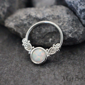 Opal Captive Bead Ring
