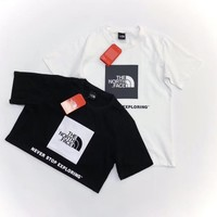 """""""The North Face"""" Unisex Casual Classic Logo Print Short Sleeve Couple T-shirt Top Tee"""