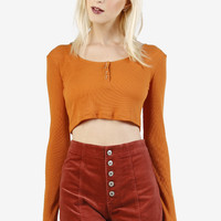 Cropped Henley Long Sleeve - Rust