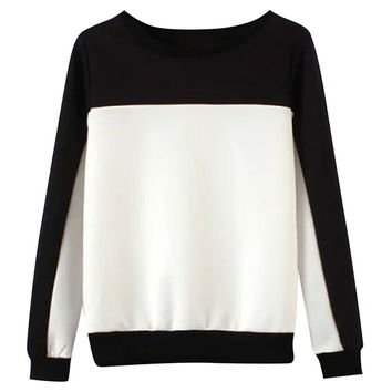 Color Block Round Neck Loose Sweater