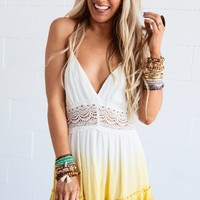 Golden Dreams Ombre Halter Dress - Yellow