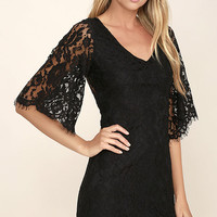 Here and Wow Black Lace Dress