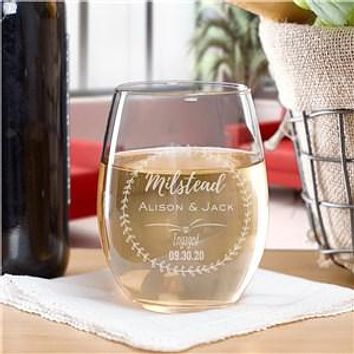 Engraved Engagement Stemless Wine Glass