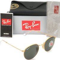 Authentic Ray-Ban RB 3447 11258 50mm Round Metal Gold Frame Green Polarized