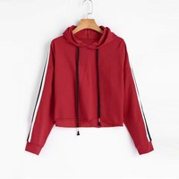 2018 Ladies Girls Daily Wear Pullover Womens Striped Crop Hoodie Sweatshirt Long Sleeve Jumper Hooded Pullover Tops Red