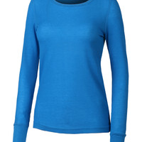 LE3NO Womens Lightweight Long Sleeve Round Neck Thermal Shirt (CLEARANCE)