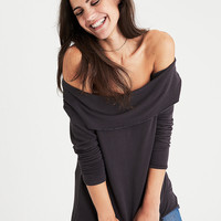 AEO Soft & Sexy Off-the-Shoulder Foldover Top, Black