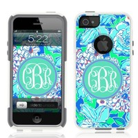 iPhone 5 Case [White] Lilly Blue Monogram [Dual Layer] UnnitoTM *1 Year Warranty* Case Protective [Custom] Commuter Protection Cover iPhone 5S