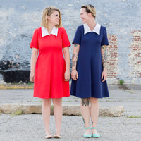 vintage red dress / collared dress / mod dress large / 60s dress large / fit and flare dress / scooter dress / nautical sailor dress / 1960s