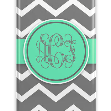 Gray chevron with turquoise ribbon - Monogrammed Iphone case