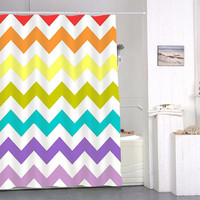 chevron rainbow special custom shower curtains that will make your bathroom adorable