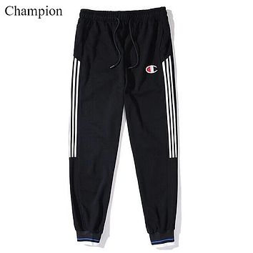 Champion New fashion embroidery letter couple stripe thicken keep warm pants Black