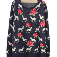 Dark Blue Horses And Roses Print Sweater