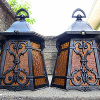 SOLD!  Vintage Arts Crafts Mission Porch Sconce Light Covers