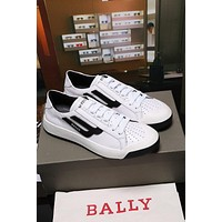 Bally The New Competition Men's Deer Leather Trainer In White Black Sneakers Shoes - Sale