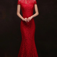 Embellished Illusion Back Floral Wedding Qipao Mermaid Gown