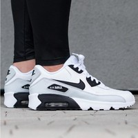 NIKE AIR MAX 90 fashion ladies men running sports shoes sneakers F-PS-XSDZBSH Grey with white black tail-1
