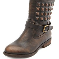 Covered Pyramid Stud Ankle Bootie: Charlotte Russe