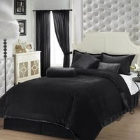Chezmoi Collection 7-Piece Luxury Solid Black Soft Velvet Comforter 90-Inch by 92-Inch Bed in a bag Set, Queen Size