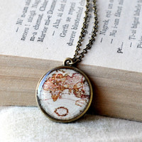 Vintage Map Resin Necklace, World Map Pendant, Resin Jewelry