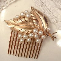 Vintage TRIFARI Ivory Pearl Brushed Rose Gold Floral Spray Leaf Wedding Hair Comb, Signed Brooch to Bridal Leaves Head Piece Woodland Rustic