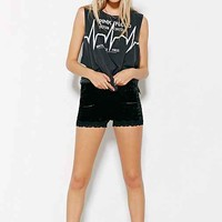 Staring At Stars Crushed Velvet Lace Shorts- Black