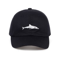 Trendy Winter Jacket 2017 new arrival shark embroidery water wash cotton baseball cap high quality snapback hat for women men sports hats AT_92_12