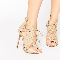 Windsor Smith Church Bone Strappy Lace Up Heeled Sandals