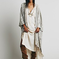Free People Womens Lurex Fairisle Poncho - White Gold One