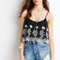 Embroidered Flounce Cami Top