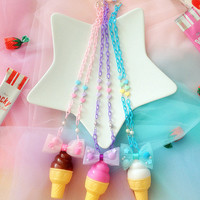 Fairy Kei Plastic Ice Cream Necklaces in Strawberry Chocolate or Vanilla with Pom Pom Tulle Bow