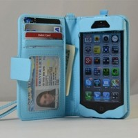 Navor iPhone Life Protective Deluxe Book Style Folio Wallet Leather Case for iPhone 5 & iPhone 5S ( Light Blue )