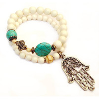 protection, white wood and turquoise mala set