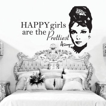 """Audrey Hepburn Happy Girls Are The Prettiest Quote Wall Decal 20""""h X 30""""w"""