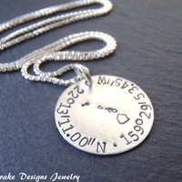 ALL STATES Sterling silver Latitude longitude Necklace personalized state coordinate necklace