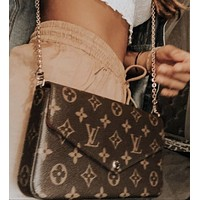 LV Louis Vuitton Classic Letter Printing Retro Three-piece Card Set Bag Shoulder Bag Messenger Bag Shopping Bag