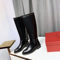 "Valentino New Latest Trending Women Black Brown ""Monogram Empriente"" Leather Zipper high long Boots Flats High Heels Shoes Winter Autumn"