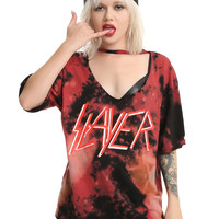 Slayer Logo Cutout Choker Girls T-Shirt
