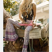 Vintage Hippie BOHO Tie Dye Gypsy Bell Bottom Loose Flare Pants