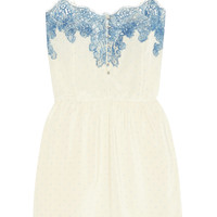 Rosamosario - Bollicine Love Chantilly lace-trimmed printed silk crepe de chine chemise