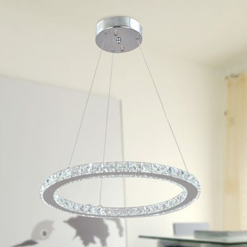 Modern Crystal Warm White LED Pendant Light with 1 Unique Rings Max 20W Chrome Finish
