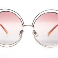 Pink Oversized Round Boho Chic Metal Wire Frame Fashion Sunglasses